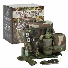 Kids Army Outdoor Adventure Kit - Includes Woodland Camouflage Carry Bag