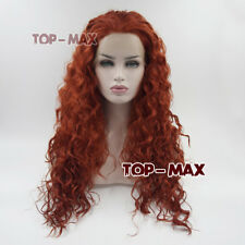 60cm Reddish Orange Long Hair for Scooby Doo Daphne Blake Lace Front Wig