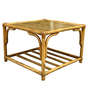 Vintage Boho Chic Bent Rattan Bamboo Square Coffee Table