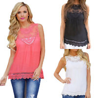 Women Summer Lace Vest Sleeveless Blouse Casual Chiffon Loose Tank Top Shirt Tee