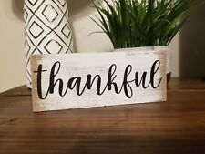 "Fall Autumn Buffalo Plaid "" THANKFUL "" WOOD BOX Distressed Sign Thanksgiving New"