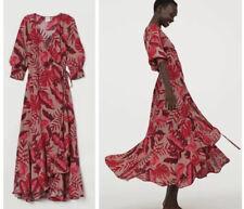 NWT Johanna Ortiz X H&M Creped Wrap Front Dress Bloggers Red Leaf Design Medium