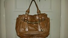 Authentic Vintage Chloe Tan Leather Bay Satchel Handbag Large Purse Brown
