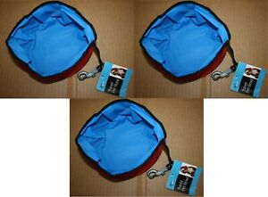(3) Portable Foldable Dog Cat Water/Food Bowl Pet Travel Dish Collapsible Fabric