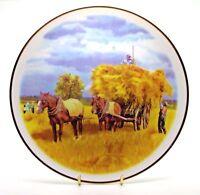 ~~.. Shire Horse Pair & Hay Cart ~ Porcelain Horse Plate