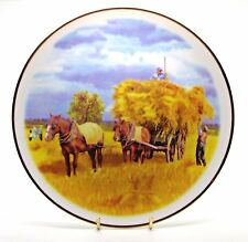 ~~.. Shire Horse Pair & Hay Cart ~ Porcelain Horse Plate