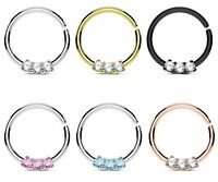 1pc Three CZ Gems Ion Plated Septum Cartilage Hoop Ring Rook Daith Helix Tragus