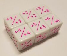 6x Counter Dice (PINK Ink) +1/+1 to +6/+6 for Magic: The Gathering CCG MTG