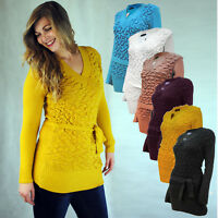 WOMENS LONG SLEEVE FITTED JUMPER V NECK TIE BELT RUFFLE FRILL FRONT DETAIL 10 14