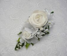 Wedding flower buttonhole white rose & hydrangea... PIN ON