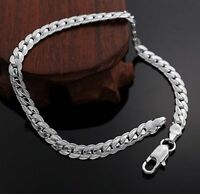 Man Luxury 925 Stamped Sterling Silver plated Bracelet Curb Chain +Free Gift Bag