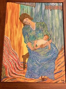 Vintage On Wood Frame PAINTING WOMAN HOLDING BABY SIGNED WB