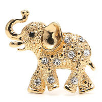 Fashion Unisex Gold Plated Crystal Elephant Rhinestone Party Bouquet Brooch Pin