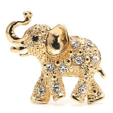 Fashion Unisex Gold Plated Elephant Crystal Rhinestone Party Bouquet Brooch Pin