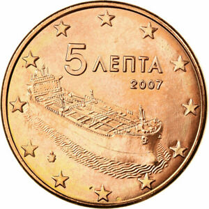[#723657] Grèce, 5 Euro Cent, 2007, SUP, Copper Plated Steel, KM:183
