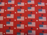 Patriotic 48482 USA Flad Blue Star Red Quilting Crafting Cotton Fabric 1/2 YARD