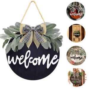 Welcome Wreath Sign for Farmhouse Front Porch Decor Rustic Door Hanger Home DeSG