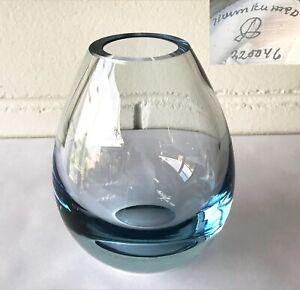 Vintage 1960's HOLMEGAARD Denmark ICE BLUE GLASS OVOID VASE - Per Lutken SIGNED