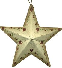 5.5x5.5 Rustic Country Metal Barn STAR hearts floral vine Sign Vintage Tin Decor