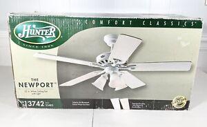 Hunter 23483 Newport Three-Light 52-Inch Five Blade Ceiling Fan, White, NEW!