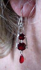 Superbes boucles d'oreilles percées bijou argent massif 925 zircon rubis 3374