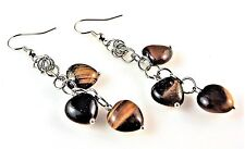 1 Natural Pair of Tigers Eye Dangle Earrings with 3 Gemstone Hearts - # 163