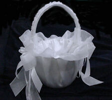 "White Flower Girl Basket With Lace For Wedding.Available IV. 9"" Height"