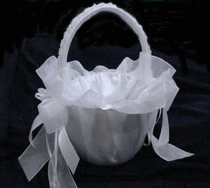 "White Flower Girl Basket With Lace For Wedding.Available Ivory. 9"" Height"
