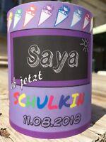 4 x Tischlicht Schuleingang Lila Tischdeko Windlicht Einschulung mit Name, Datum
