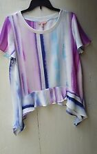 JUICY COUTURE   SIZE LARGE    SHORT SLEEVE BLOUSE WITH PRETTY PASTELS