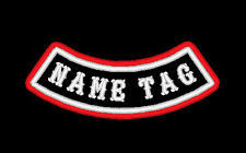 "CUSTOM EMBROIDERED PATCH DOUBLE BORDER 4"" BOTTOM ROCKER NAME TAG MADE IN USA"