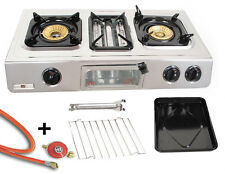 Stainless Steel Gas Cooker with Grill 3 Lamps 9,7 Kw Camping Stove Oven Wok