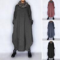 Plus Size VONDA Spring Women Long Sleeve Casual Long Maxi Dress Loose Kaftan New