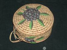 """Vtg 12X6 """" Rond Main Osier Couture Crochet Knitting Transporter Artisanat Cloche"""