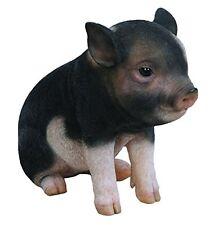 SITTING PIGLET DARK BROWN BABY PIG REALISTIC FIGURINE STATUE HOME GARDEN DECOR
