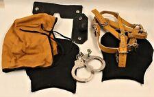 VINTAGE Lot of Sensory Deprivation Hood Bondage Handcuffs Leather Unisex
