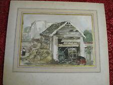 Edouard Jacques Dufeu 1840-1900 / Vue d'une ferme / aquarelle