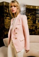 Attentif Paris Double Breasted Light Pink Blazer with Gold Buttons | UK8 - UK14