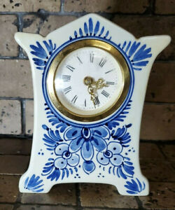 Blue Delft Holland Hallmarked And Numbered Miniature Clock