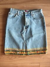ABS by Allen Schwartz Denim Light Wash Boho Style Details Skirt Size 8