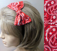 RETRO STYLE RED PAISLEY COTTON PRINT HAIR SIDE 4in BOW CUTE ALICE HEAD BAND E16