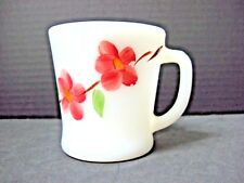 vtg HAND PAINTED peach blossom dogwood ANCHOR HOCKING FIRE KING mug