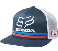 FOX RACING MENS NAVY BLUE FOX X HONDA SNAPBACK HAT LOGO LICENSED MX DIRT BIKE OS