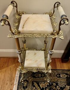 Exceptional Antique Victorian Solid Brass and White Marble Fern Stand