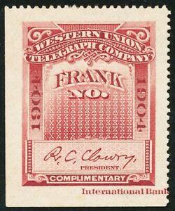 DR JIM STAMPS US SCOTT 16T35 WESTERN UNION FRANK 1904 UNUSED NO GUM HINGED