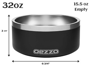 Large Stainless Steel Dog Bowl - Non Slip Ring, Easy to Clean, 32 and 64 ounces