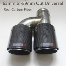 1x Glossy Carbon Fiber Dual Pipe Car Exhaust Pipe Tail Muffler End Tip 63mm-89mm