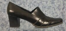 Franco Sarto Size 9M Black Patent Leather Square Toe Slip On Loafer Style Heels