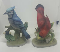 lefton china exclusives ceramic cardinal bird  & blue jay Lot Of 2