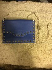 Jc Jager Blue Studded Leather Crossbody Chain Purse